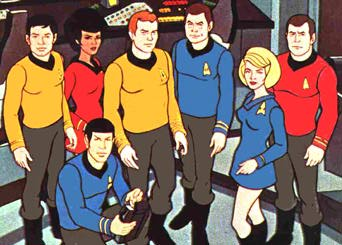 Regular crew from animated Trek