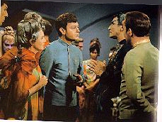 Amanda with Sarek, Spock, Dr. McCoy & Captain Kirk at reception